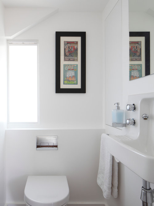 Powder Room Small Contemporary Idea In London With A Wall Mount Sink