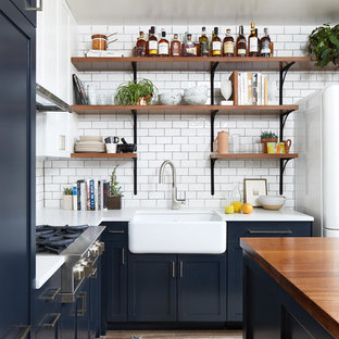 small eclectic open concept kitchen ideas example of a small eclectic l shaped porcelain - Eclectic Kitchen