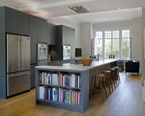 bookshelf in kitchen | houzz