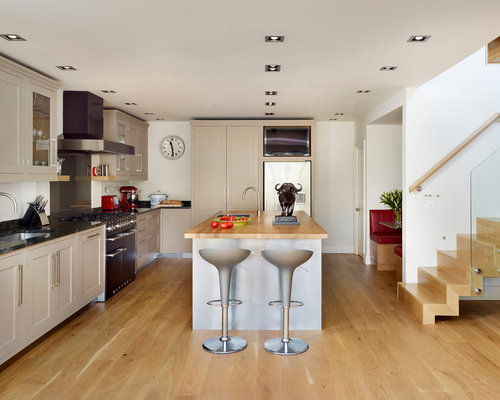 5 239 l shaped kitchen design photos with beige cabinets