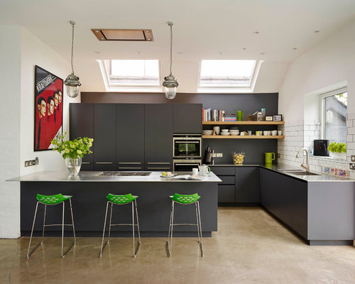 This is an example of a large contemporary open plan kitchen in London with  flat Kitchen Breakfast Bar Design Ideas Pictures Inspiration