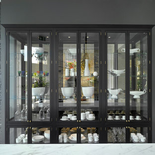 Inspiration for a large shabby-chic style single-wall kitchen pantry in London.