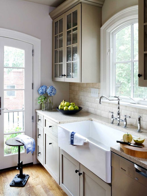 Kitchen with a farmhouse sink design ideas remodel for Galley kitchen sink