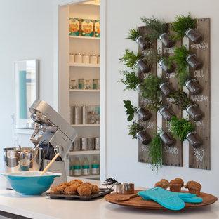 Immagine di una cucina design con ante lisce e ante bianche