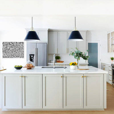 Eat-in kitchen - large contemporary u-shaped medium tone wood floor and brown floor eat-in kitchen idea in Los Angeles with an undermount sink, shaker cabinets, green cabinets, white backsplash, mosaic tile backsplash, stainless steel appliances, an island and white countertops