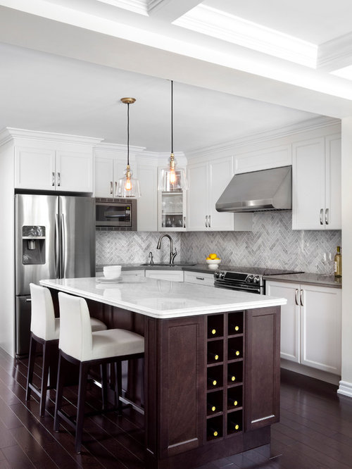 Mid Sized Elegant L Shaped Dark Wood Floor Kitchen Photo In Toronto With  Recessed