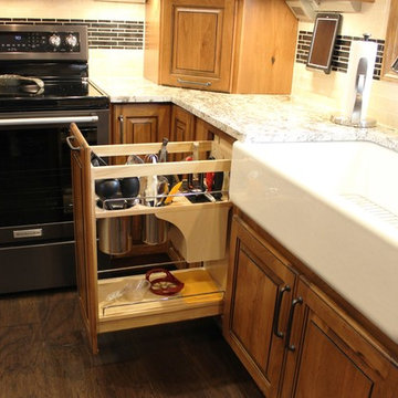 Rural Kewanee Kitchen Remodel With Rustic Beech Cabinets and White Sand Granite