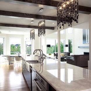 Cristallo Quartzite Countertop Entrepre88 Example Of A Large Trendy Single Wall Medium Tone Wood Floor Eat In Kitchen