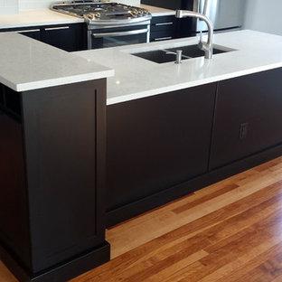 トロントの小さいモダンスタイルのおしゃれなキッチン (アンダーカウンターシンク、シェーカースタイル扉のキャビネット、黒いキャビネット、クオーツストーンカウンター、白いキッチンパネル、サブウェイタイルのキッチンパネル、シルバーの調理設備、セラミックタイルの床) の写真