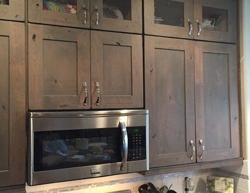 Rustic Alder Stacked Cabinets with LED under cabinet lighting