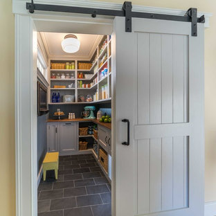 Design ideas for a medium sized rural kitchen pantry in Boston with recessed-panel cabinets, grey cabinets, wood worktops, ceramic flooring and grey floors.