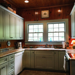 Small country u-shaped separate kitchen in Atlanta with a drop-in sink, shaker cabinets, green cabinets, laminate benchtops, brown splashback, white appliances, vinyl floors and no island.