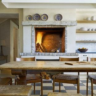 Mediterranean eat-in kitchen designs - Eat-in kitchen - mediterranean eat-in kitchen idea in Phoenix with open cabinets, light wood cabinets, white backsplash and subway tile backsplash