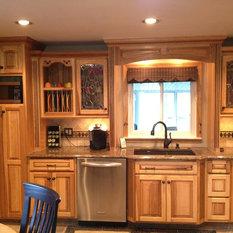 Cabinetry: KraftMaid Marquette Hickory In Honey Spice W/ Mocha Glz.    Countertops: Tropic Brown Granite   Designer: Neil Ruelle; Kurtis Kitchen U0026  Bath, ...