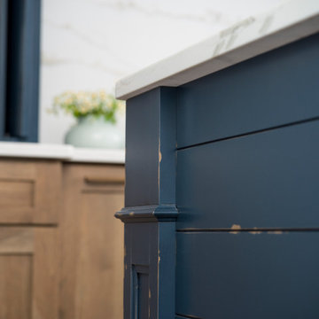 Rustic Heritage Paint Modern Farmhouse kitchen Island in navy Blue with Shiplap