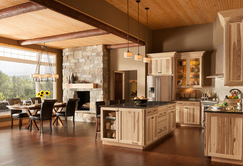 Were the hickory cabinets done in a stain or just a clear ...