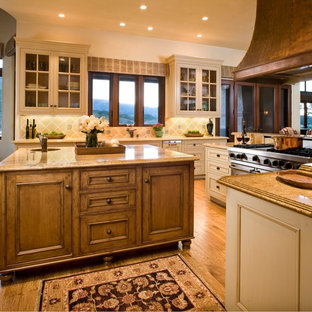 Rustic Kitchen Photos   Kitchen   Rustic Kitchen Idea In Other With  Glass Front Cabinets