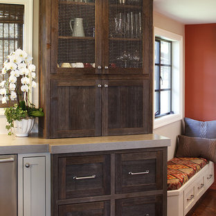 Kitchen Rustic Idea In San Francisco With Shaker Cabinets And Dark Wood