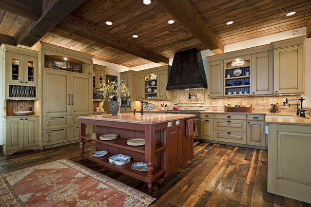Rustic Kitchen by Bulhon Design Associates
