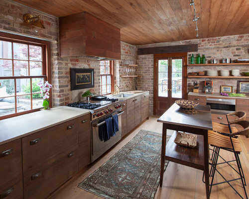 Mid Sized Rustic Kitchen Design Ideas Remodels Photos
