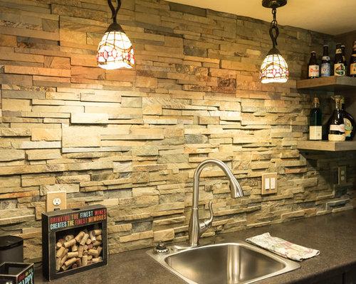 Schofield Rustic Stone And Hardwood Flooring In Basement Bar