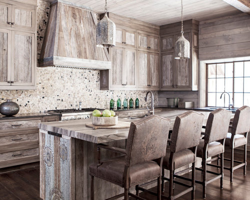 Rustic Kitchen With Mosaic Tile Backsplash Design Ideas