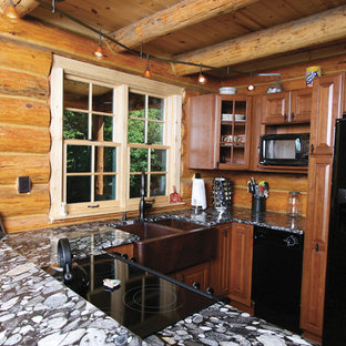 Inspiration For A Small Rustic U Shaped Kitchen Remodel With A Farmhouse  Sink, Raised