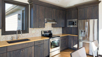Rustic Kitchen with a Barn Wood Door
