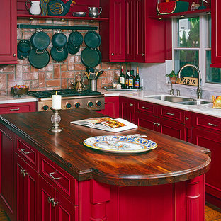 Rustic Kitchen with Red Cabinets
