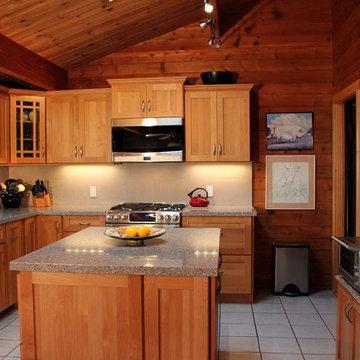 Rustic log house kitchen