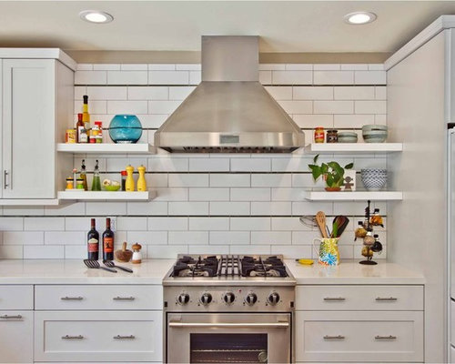 Trendy Kitchen Photo In San Go With Subway Tile Backsplash White Cabinets