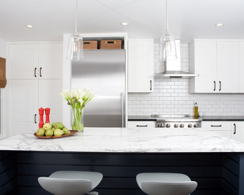 tumbled marble subway tile backsplash | houzz