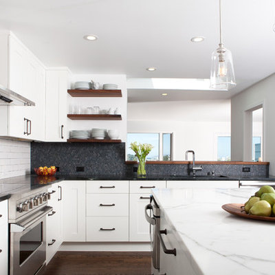 1960s l-shaped dark wood floor enclosed kitchen photo in San Francisco with stainless steel appliances, shaker cabinets, white cabinets, soapstone countertops, gray backsplash and mosaic tile backsplash