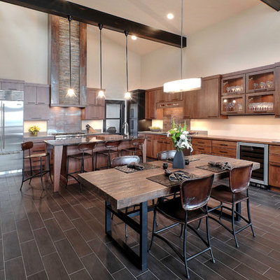 Inspiration for a large rustic l-shaped porcelain tile eat-in kitchen remodel in Other with flat-panel cabinets, medium tone wood cabinets, stainless steel appliances and an island