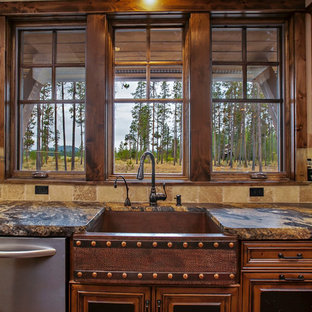 Rustic kitchen ideas - Example of a mountain style kitchen design in New York