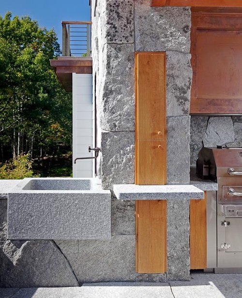 Outdoor Stone Sink : Rustic Outdoor Kitchen Home Design Ideas, Renovations & Photos