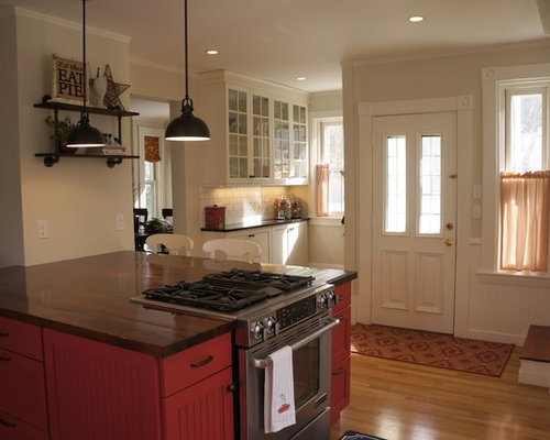 Rustic Enclosed Kitchen Design Ideas Renovations Photos With Red Cabinets