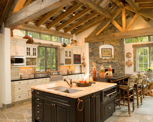 Inspiration For A Timeless Eat In Kitchen Remodel In Other With A Farmhouse  Sink,