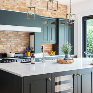 75 Beautiful Kitchen With Green Cabinets And Brick Backsplash Pictures Ideas January 2021 Houzz
