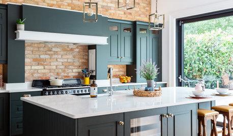 Dark Green Cabinets Add Elegance to a Welcoming Kitchen