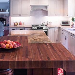 Rustic Walnut Butcher Block and White Perimeter Cabinetry West Chester PA