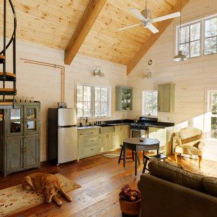 Ejemplo de cocina en L, rural, pequeña, abierta, sin isla, con puertas de armario verdes, electrodomésticos de acero inoxidable, suelo de madera en tonos medios, fregadero sobremueble, encimera de esteatita, salpicadero negro y armarios con paneles lisos