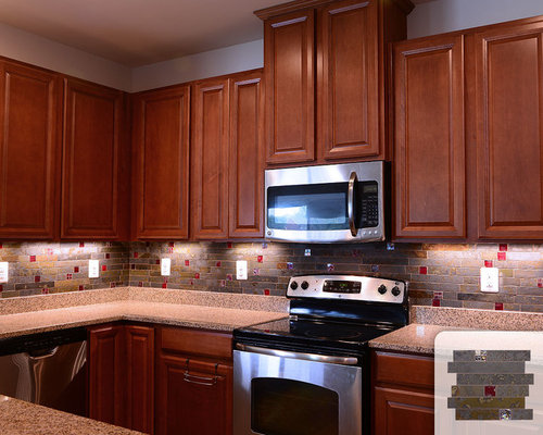 red tiles for kitchen backsplash slate backsplash tile home design ideas pictures remodel 25562