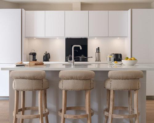 Trendy Light Wood Floor Kitchen Photo In Edinburgh With An Undermount Sink,  Flat Panel