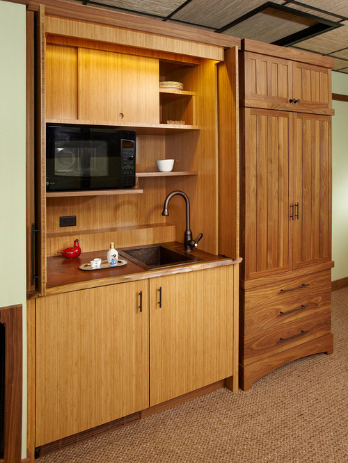 Small Asian Kitchen Designs   Example Of A Small Asian Single Wall Carpeted  Kitchen Design