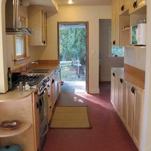 シアトルの中サイズのおしゃれなキッチン (ダブルシンク、シェーカースタイル扉のキャビネット、白いキャビネット、御影石カウンター、シルバーの調理設備の、カーペット敷き、ピンクの床) の写真