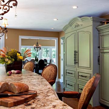Sage Green Kitchen and Granite Countertops Renovation St. Louis, MO