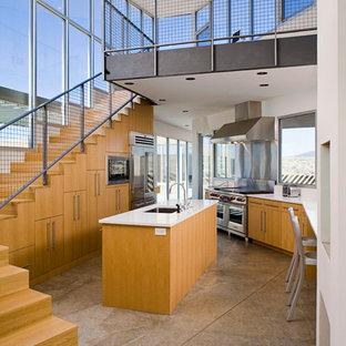 Kitchen - contemporary kitchen idea in Albuquerque with an undermount sink, flat-panel cabinets, light wood cabinets, metallic backsplash, metal backsplash and stainless steel appliances