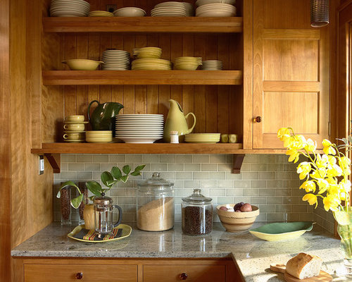 Craftsman Kitchen Ideas   Arts And Crafts Kitchen Photo In Minneapolis With  Light Wood Cabinets,