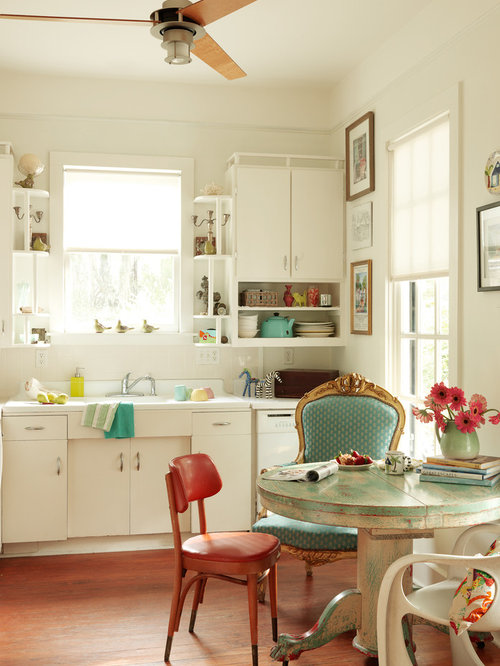 Inspiration For A Shabby Chic Style Single Wall Medium Tone Wood Floor Eat